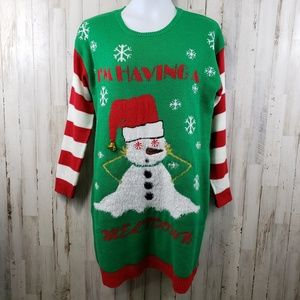 Allison Brittney Womens Dress Green Snowman Ugly X